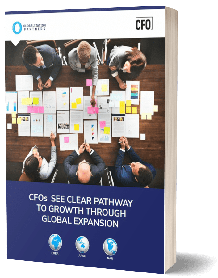 """Front cover of """" CFOs See Clear Pathway to Growth Through Global Expansion"""" report."""