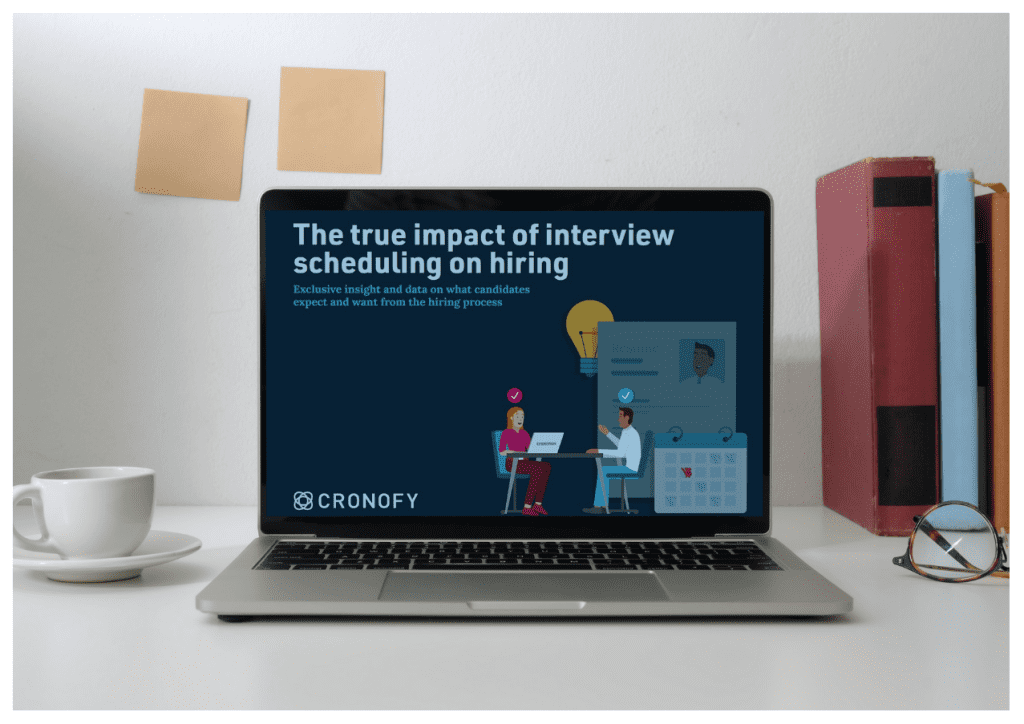"""Front cover of Cronofy's """"The true impact of interview scheduling on hiring"""" report."""