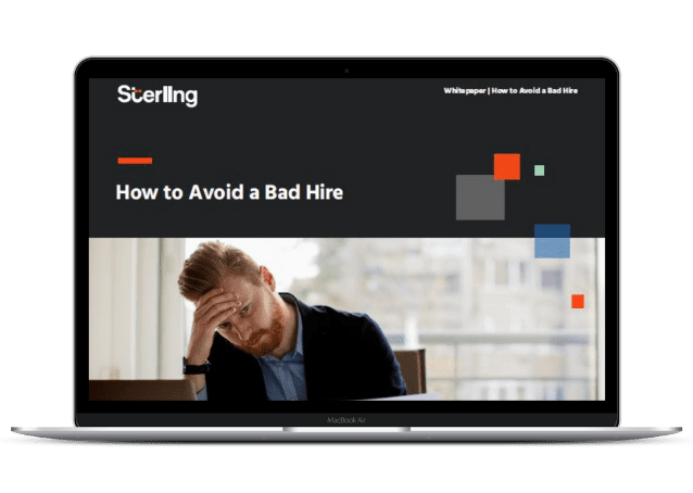 """""""How to avoid a bad hire"""" whitepaper cover on a laptop screen."""